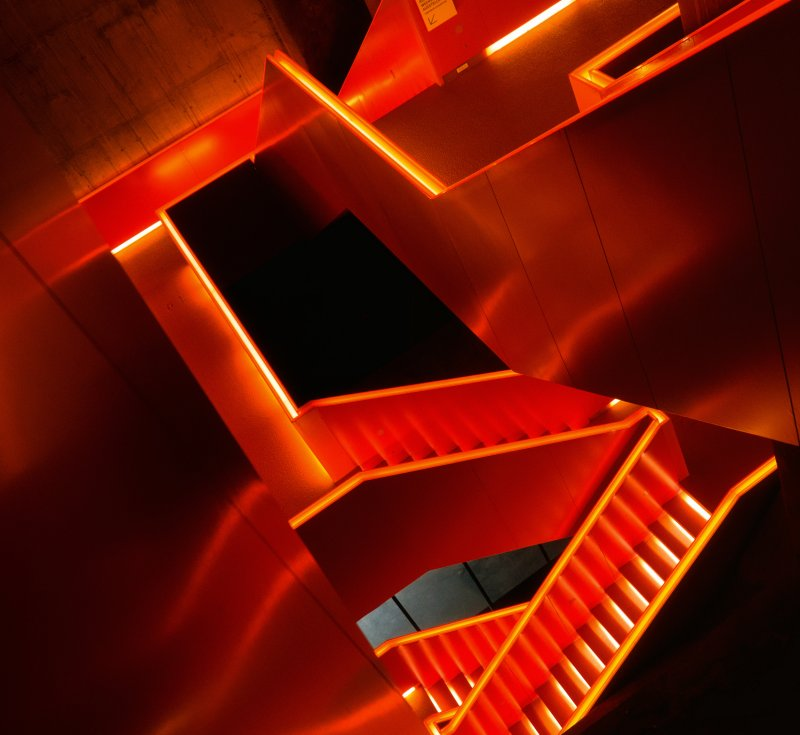 ... staircase , orange ...