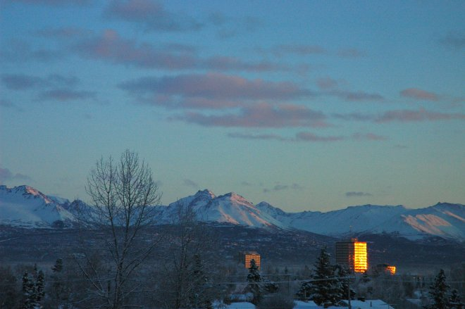 Glowing Buildings Chugach Range Mountains Christmas Eve Anchorage Alaska USA