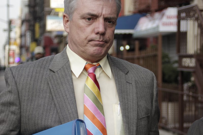Man with multicolored tie