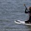 Young girl (on the west side of Morro Rock) puts-in her SUP Stand-Up Paddle Board into an aggressing outgoing ebb tide with offshore winds, thus quickly exiting the harbor channel mouth into the open ocean, making several of us keep a watch to make sure s