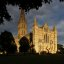 salisbury cathedral west front and tower, sunset