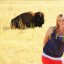 Teen Blonde Girl and American Bison Buffalo