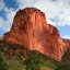 Morning light on a Navaho Sandstone peak in the Kolob Canyon section of Zion National Park