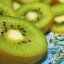 Free Pretty Green Kiwi Fruit on Aqua with Little Flowers Creative Commons