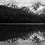 In tribute to Ansel Adams: McGown Peak reflected on Stanley Lake, Idaho in black and white