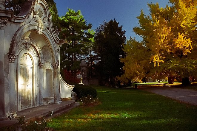 "Cincinnati - Spring Grove Cemetery & Arboretum ""Burnett Mausoleum at Evening in Autumn"""