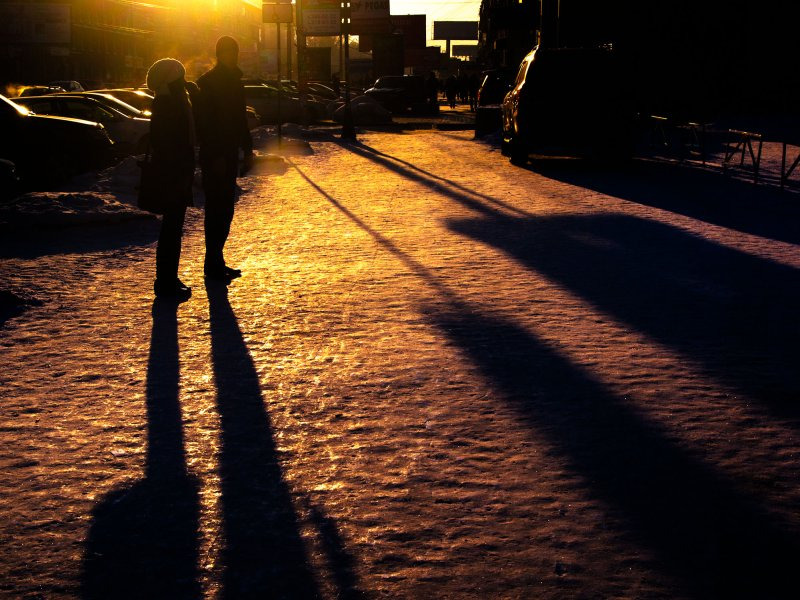 Winter shadows / On the street / Novosibirsk / Siberia / 19.01.2012