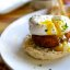 Poached egg, crab cake, and an english muffin
