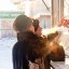 Buying meat / On the street / Novosibirsk / Siberia / 11.02.2012