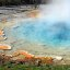 Colorful thermal pool in the Fountain Paint Pot area of Yellowstone National Park