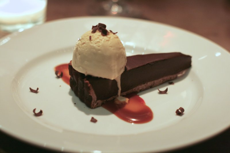 chocolate ganache tart with coffee ice cream, from ed's chowder house