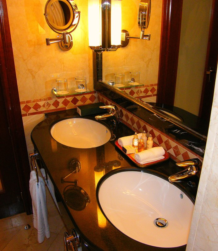 The Intercontinental Hotel in Madrid - Here is a nice view into our fully marbled Club Intercontinental Bathroom with Elemis amenities and double sink plus separate bathtub and shower! Enjoy! It's great to be here! Autumn 2008! Love!