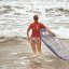 Surfer Woman is Surfing in Bikini