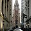 New York City, Lower Manhattan, Financial District, Wall St. / Trinity Church, 1846.