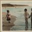 Let's Hold Hands and Walk on the Beach ... Vintage Picture of Children Enjoying a Swim and Day at the Beach