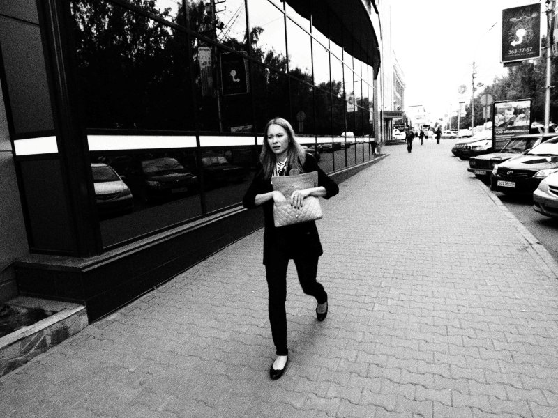 Sad and lonely woman / on the street / Novosibirsk / Siberia / 02.09.2011