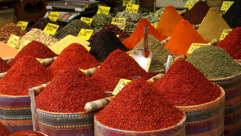 Fragrant and colorful spices at the Spice Market, Istanbul, Turkey