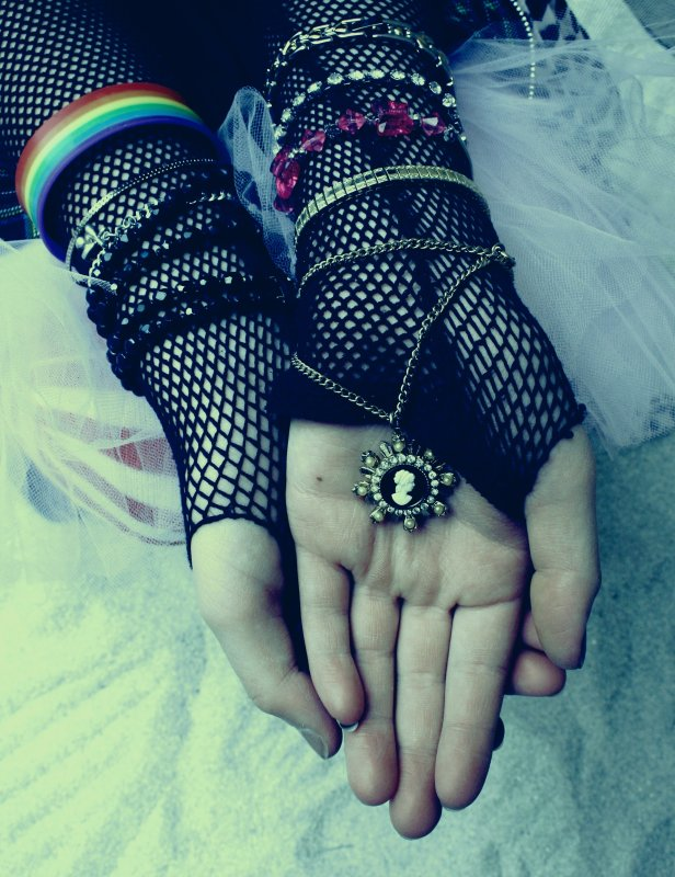 Free Retro Mesh Girl Hands Holding Necklace Just Like A Prayer Creative Commons