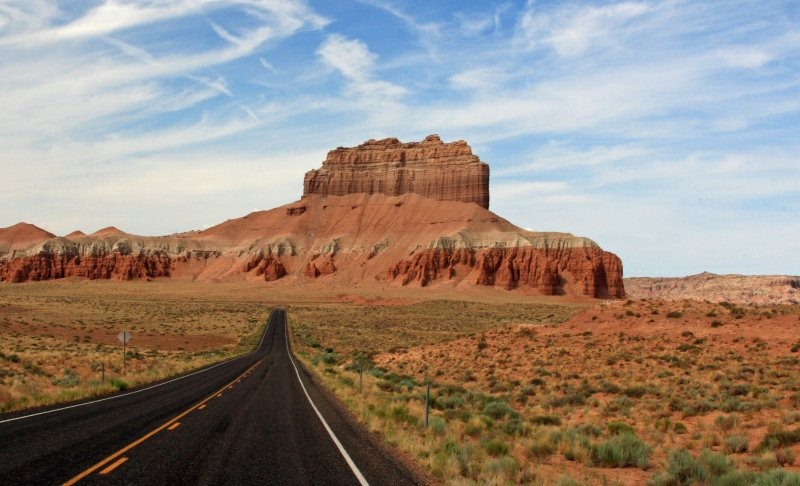 Approaching Wild Horse Butte on the way to Goblin Valley