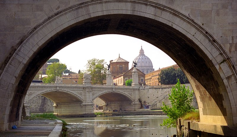 Rome - St. Peter's Basilica from St. Angelo Bridge