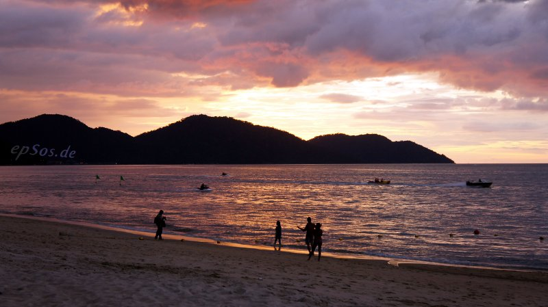 Romantic sunset at the beach in Malaysia