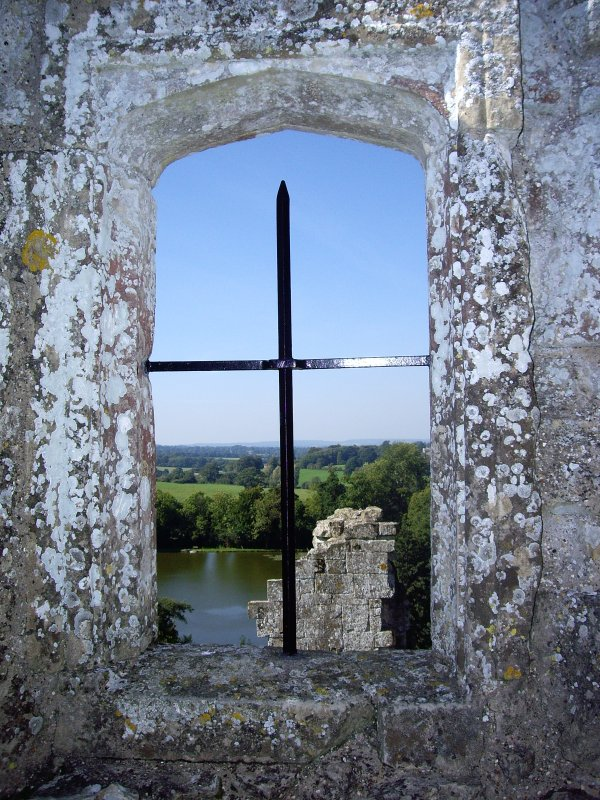 View through window of Old Wardour Castle
