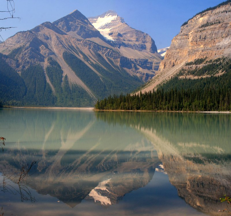 Stitched shot of a reflection on Kinney Lake, Mt. Robson Provencial Park (view on large)