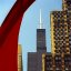 "Chicago - Sears Tower framed by Alexander Calder's ""Flamingo Sculpture"""