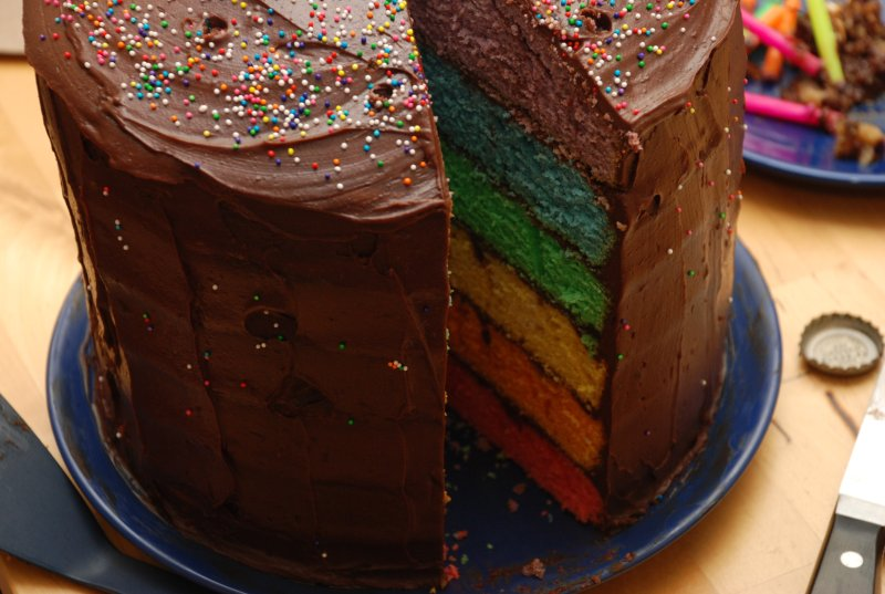 cake of rainbow awesomeness (annie made this)