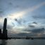 ifc, International Commerce Center and harbour silhouetted against the dusk sky