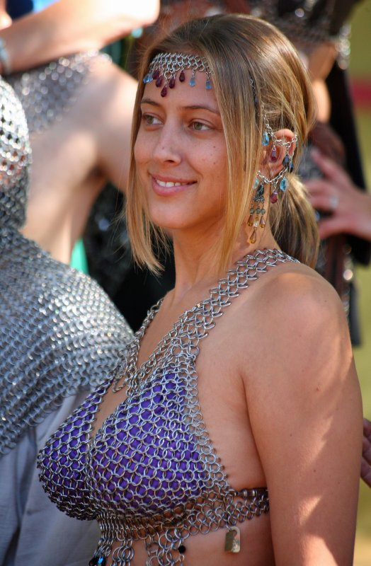 Lovely lass with large chain mail cups