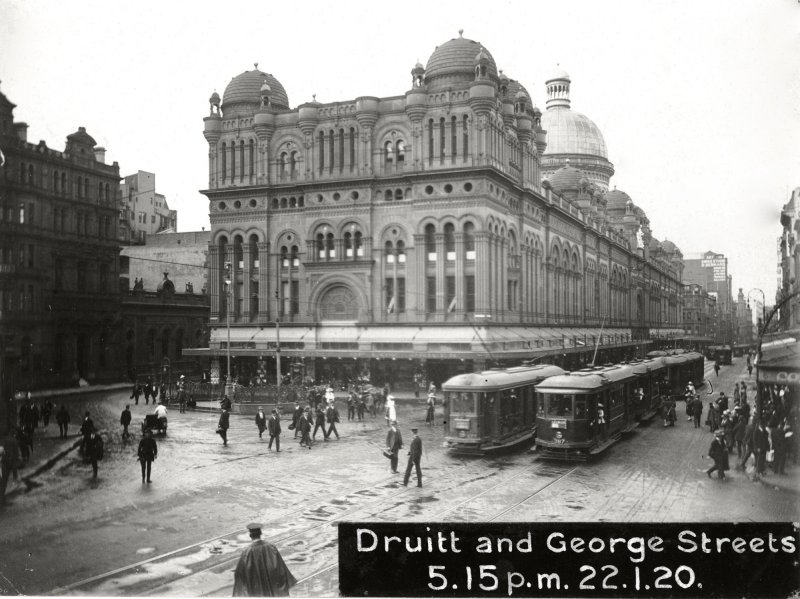 Trams on George Street in front of the QVB