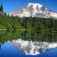 Stitched shot of Mt. Rainier reflected on Bench Lake