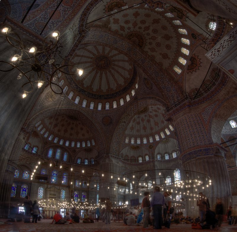 Inside Blue Mosque Istanbul Constantinople Large HDR Panorama