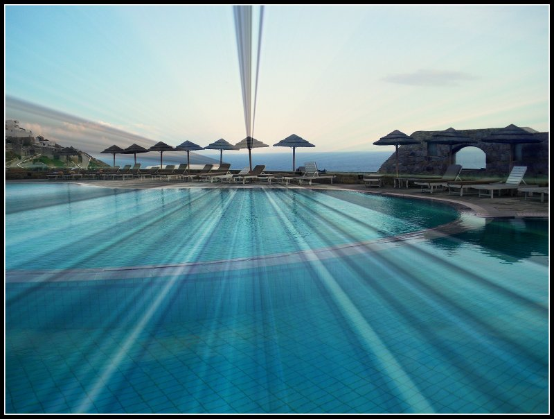 The stunning pool at the famous Royal Myconian Hotel in Elia Beach, Mykonos, Greece, October 2009, simply enjoy!:)