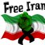 Support The Green Wave, Free Iran, Waving Iranian Flag & a Black Ribbon around the wrist of a Clenched Fist