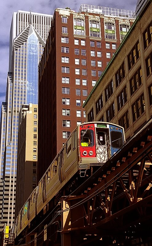Chicago - El Train from out of the Architecture