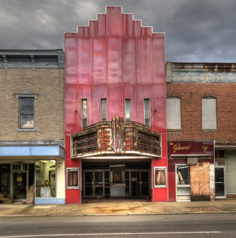 Old Theater With Red Marquis