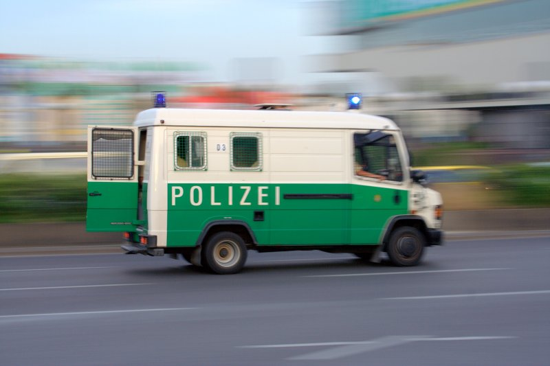 police car in action