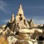 Rock houses and Fairy Chimneys near Goreme, Cappadocia, Turkey