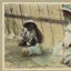 Vintage Portrait Photo Picture of two little girls with 2 toy pet dogs, playing outside