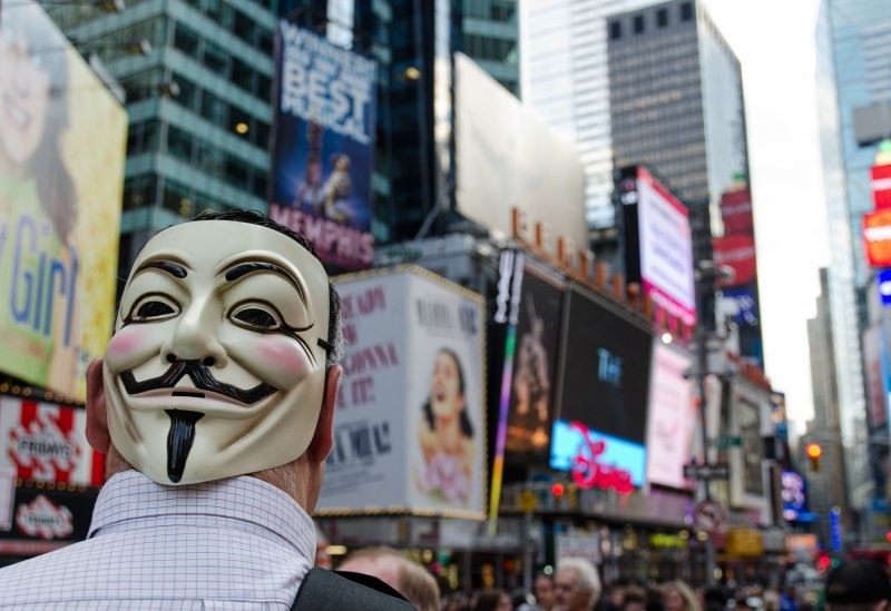 Occupy Wall Street - Mask in Times Sq