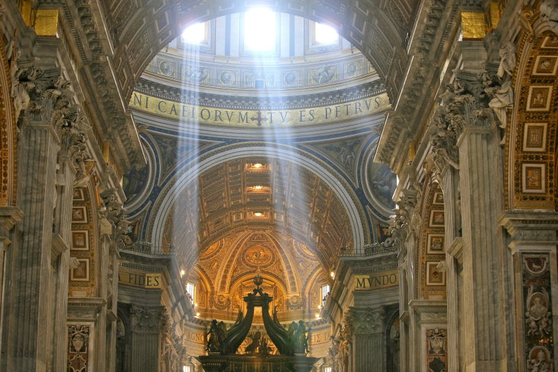 Crepuscular Rays at Noon in Saint Peter's Basilica, Vatican City