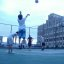 Downtown LA rooftop basketball