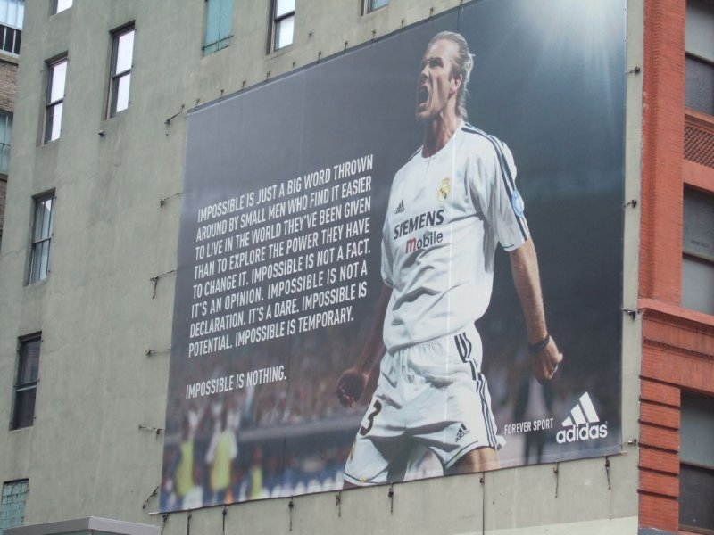 David Beckham Impossible Is Nothing Adidas poster in New York
