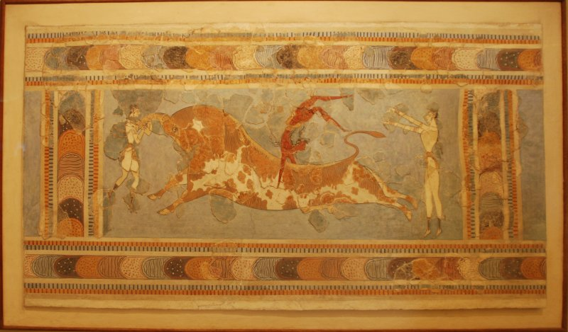 Bull-leaping, fresco from the Great Palace at Knossos, Crete, Heraklion Archaeological Museum
