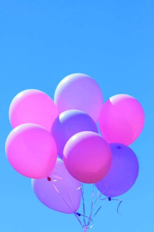 Unedited Pretty Birthday Party Balloons on Blue