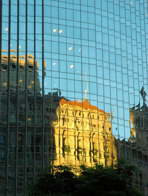 Financial District Classical Building Reflection Distortion, San Francisco, California, USA