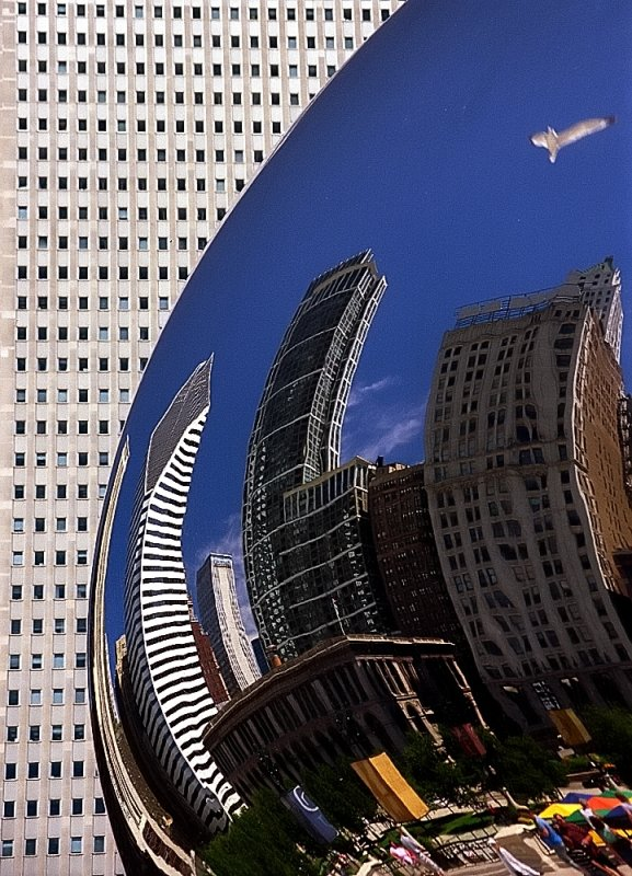 Chicago - Cloud Gate (The Bean) / City Distorted Reflection
