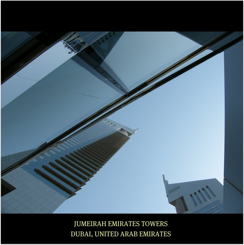 A bold statement, setting the pace in Dubai and the world. THE JUMEIRAH EMIRATES TOWERS. Excellence in Architecture and lines! WORLD : SENSE : BEYOND : OBVIOUS! Enjoy the UAE! :)